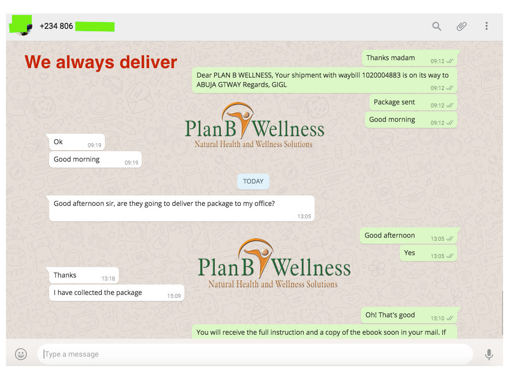 Delivery to Abuja by Plan B Wellness
