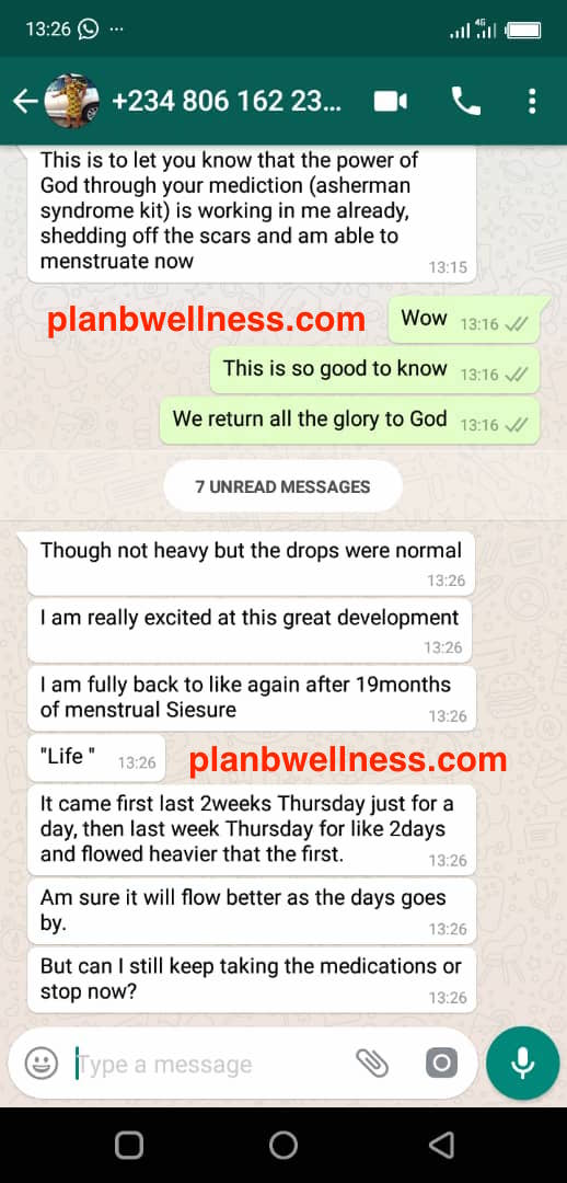 Asherman's Syndrom Treatment Testimony by Plan B Wellness Nigeria Limited