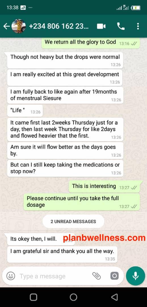 Asherman's Syndrom Treatment Testimony by Plan B Wellness Nigeria Limited